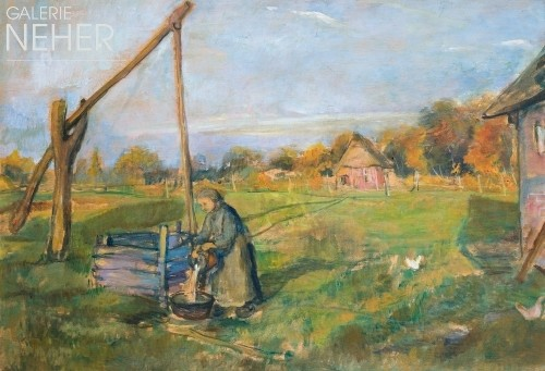 Lisel Oppel, Worpswede Woman Farmer at the Draw Well, (ca. 1925)