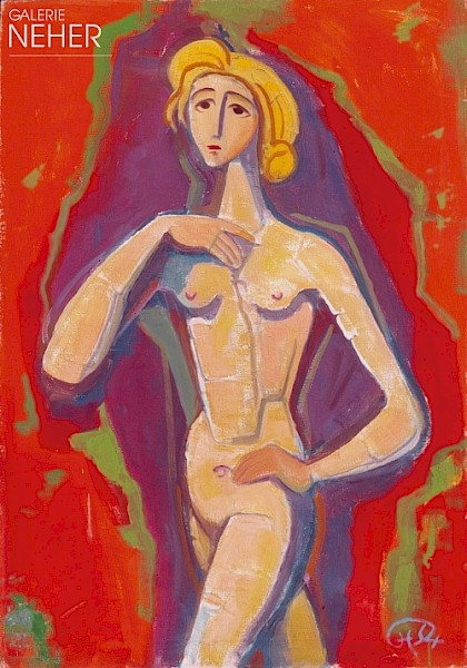 Karl Hofer, Nude Girl Standing before Red, (1954)