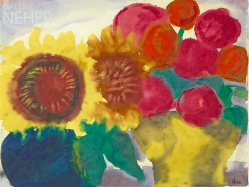 Emil Nolde, Sunflowers with Peonies, (ca. 1930)