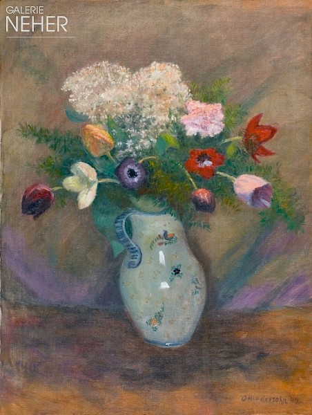 Otto Modersohn, Bouquet with Tulips, Anemones, Carnations and Guelder Roses, (1940)
