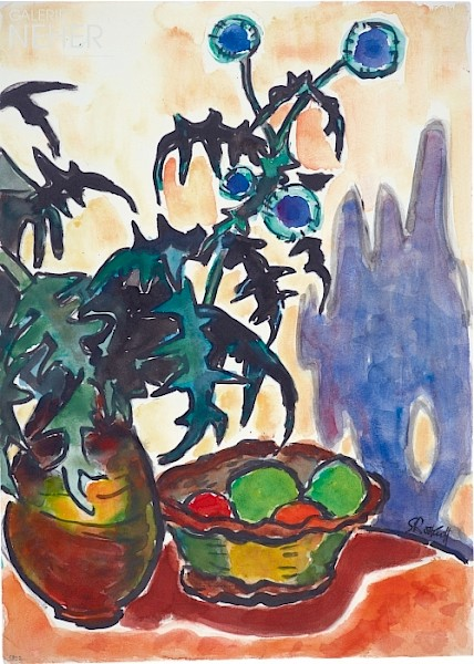 Karl Schmidt-Rottluff, Stilllife with Blue Thistle and Fruit Bowl, (1958)